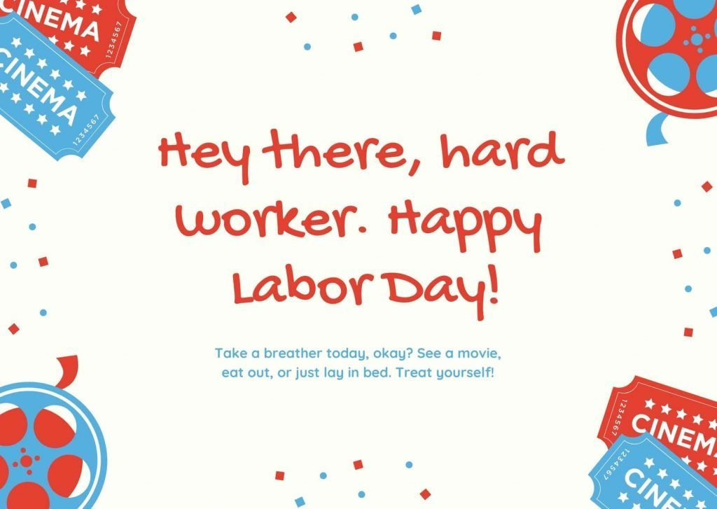 Blue and Red Film Strips and Ticket Labor Day Card